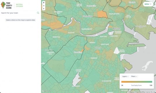 Screenshot of American Forest's Tree Equity Score Explorer overlayed over a map of the city of Boston.